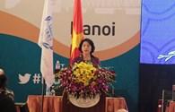 Phó Chủ tịch Quốc Hội Nguyễn Thị Kim Ngân báo cáo IPU về phiên họp Hội nghị Nữ nghị sĩ
