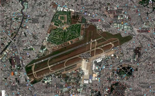 Sân golf Tân Sơn Nhất hiển thị trên Google Map.  Ảnh: Dân trí