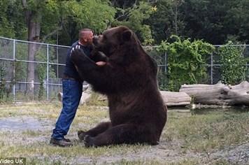 Kinh ngạc cảnh con gấu hơn nửa tấn ôm ấp tình cảm người đàn ông