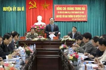 """Chỉ đạo của tân Bí thư Thành ủy Hà Nội:  """"Ba Vì phải coi cải cách hành chính là nhiệm vụ số 1"""""""