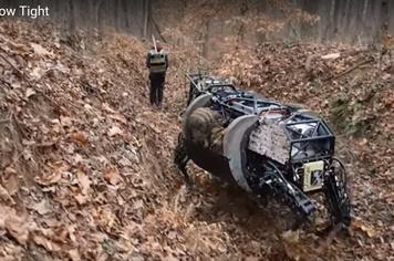 Kinh ngạc Robot hình chú chó vận chuyển thiết bị quân đội trong địa hình phức tạp