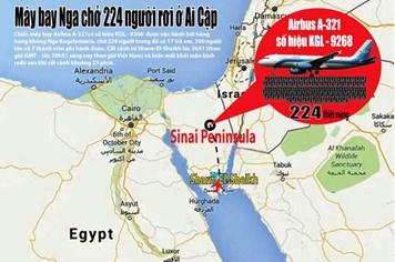ĐỒ HỌA: Máy bay Nga rơi ở Ai Cập, 224 người có thể đã thiệt mạng