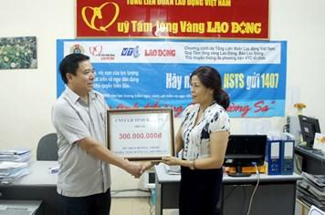 CNVCLĐ tỉnh Hà Tĩnh ủng hộ thêm 300 triệu đồng
