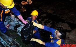 Trắng đêm vớt cá chết ở hồ Hoàng Cầu