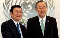 Chủ tịch Nước Trương Tấn Sang gặp Tổng Thư ký Liên Hợp Quốc