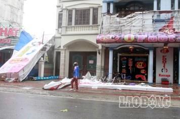 Bão số 14, Quảng Ninh: Ăngten đổ, nhà bè vỡ, tàu chìm, người mất tích...