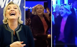 Bà Le Pen khiêu vũ tưng bừng sau thất cử Tổng thống Pháp