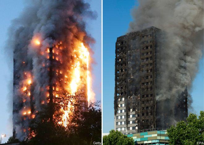 Tòa tháp Grenfell ở tây London bị bốc cháy dữ dội. Ảnh: Getty