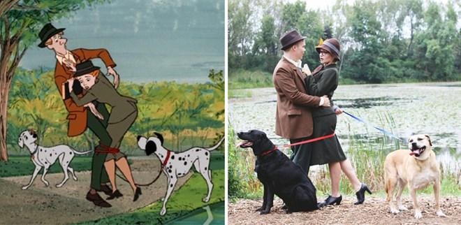 """Hầu hết những ai hâm mộ bộ phim hoạt hình """"101 chú chó đốm"""" đều bắt gặp  những hình ảnh đáng yêu của bộ phim qua bộ ảnh cưới của cặp đôi Tony ..."""