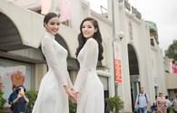 Kỳ Duyên cùng Hoa hậu Pháp duyên dáng trong tà áo dài trắng