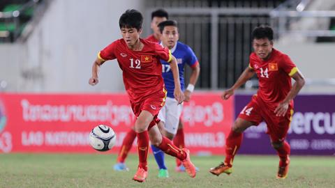Dù thi đấu rất nỗ lực, nhưng Thanh Hậu (trái) vẫn không thể giúp U.21 Việt Nam tránh thất bại trước U.21 Thái Lan.