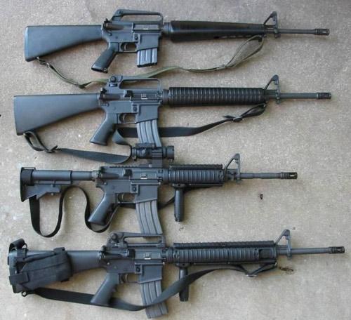 Các phiên bản của M-16 (từ trên xuống M16A1, M16A2, M4 Carbine, M16A4).